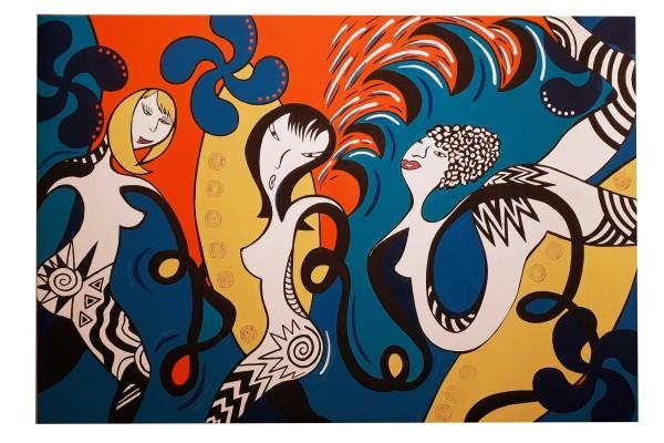 SURF GIRLS IN BIARRITZ 120 x 80 cm acrylique mat et satiné
